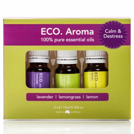 Image of ECO. AROMA Calm & Destress Pack - 3 x Glass Bottles 10ml