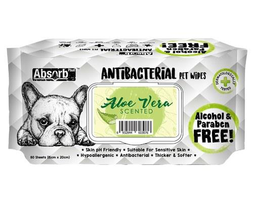 Image of Absorb Plus Antibacterial Pet Wipes - Aloe Vera 80 Sheets