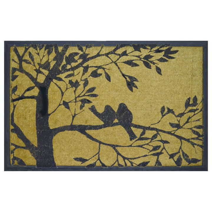 Birds on The Branch Rubber Edged Coir Doormat, 120x75cm