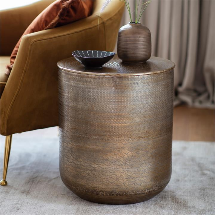Akon Embossed Metal Round Side Table