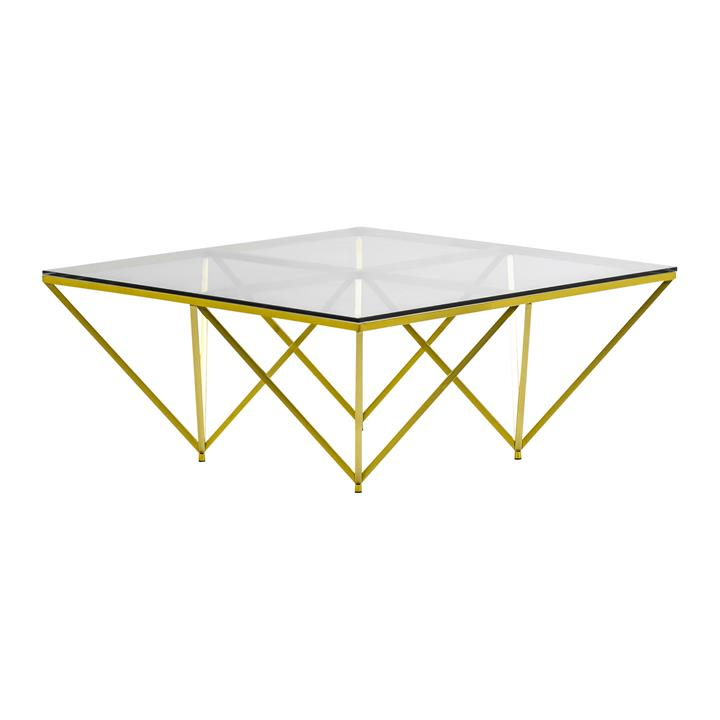 Ariana Tempered Glass & Stainless Steel Square Coffee Table, 100cm