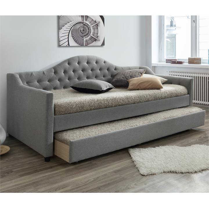 Vector Fabric Day Bed with Trundle, Single, Grey