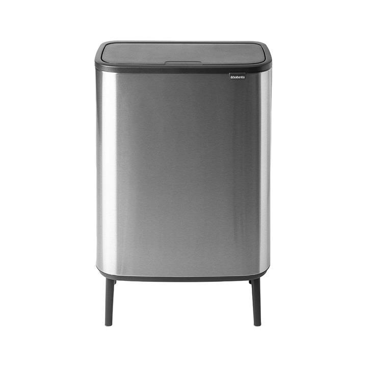 Brabantia BO Hi Touch Waste Bin, 60 Litre, Matt Steel
