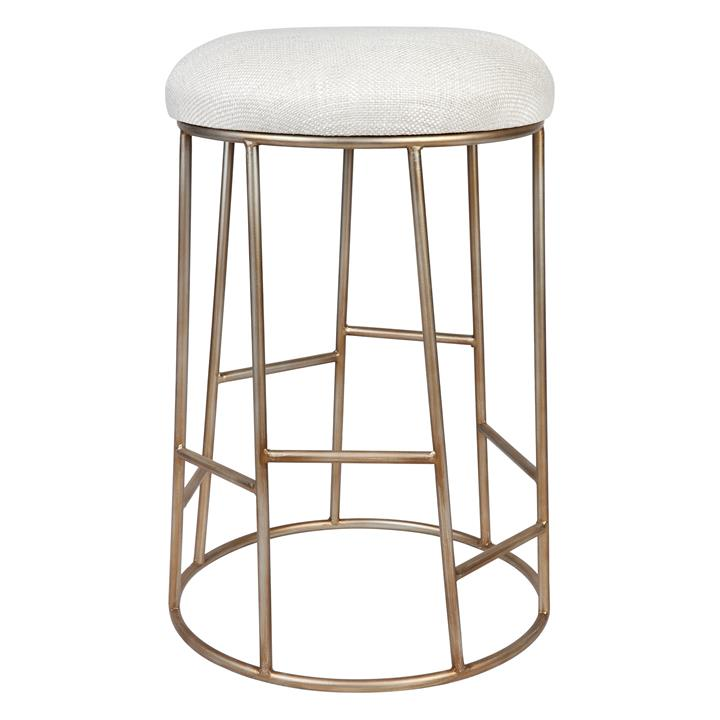 Aiden Iron Round Counter Stool with Fabric Seat, Oatmeal / Antique Gold