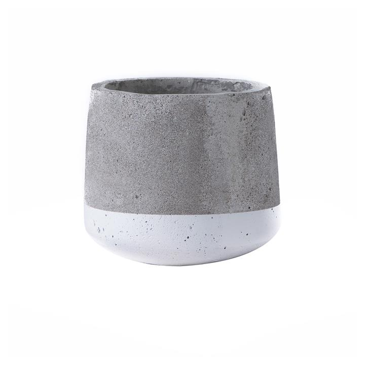 Alanis Commercial Grade Concrete Pot Planter, Small, Grey / White