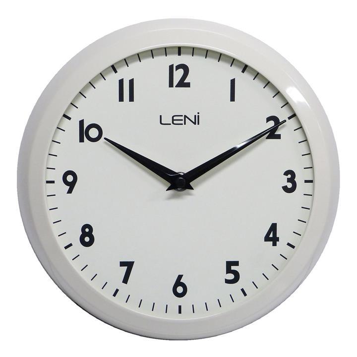 Leni Old School Metal Framed Round Wall Clock, 23cm, Gloss Ivory