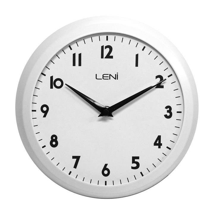 Leni Old School Metal Framed Round Wall Clock, 23cm, Matte White