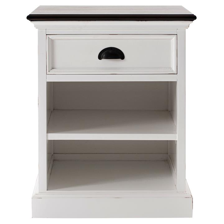 Halifax Contrast Mahogany Timber 1 Drawer Bedside Table with Shelf, Brown / Distressed White