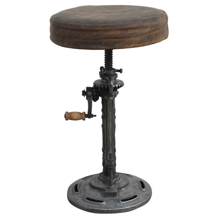 Blackburn Industrial Iron Adjustable Windup Counter / Bar Stool