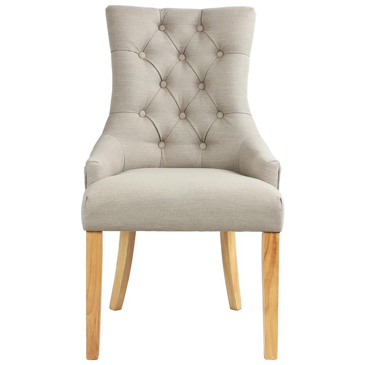 Abraham Linen Fabric Dining Chair, Set of 2, Beige