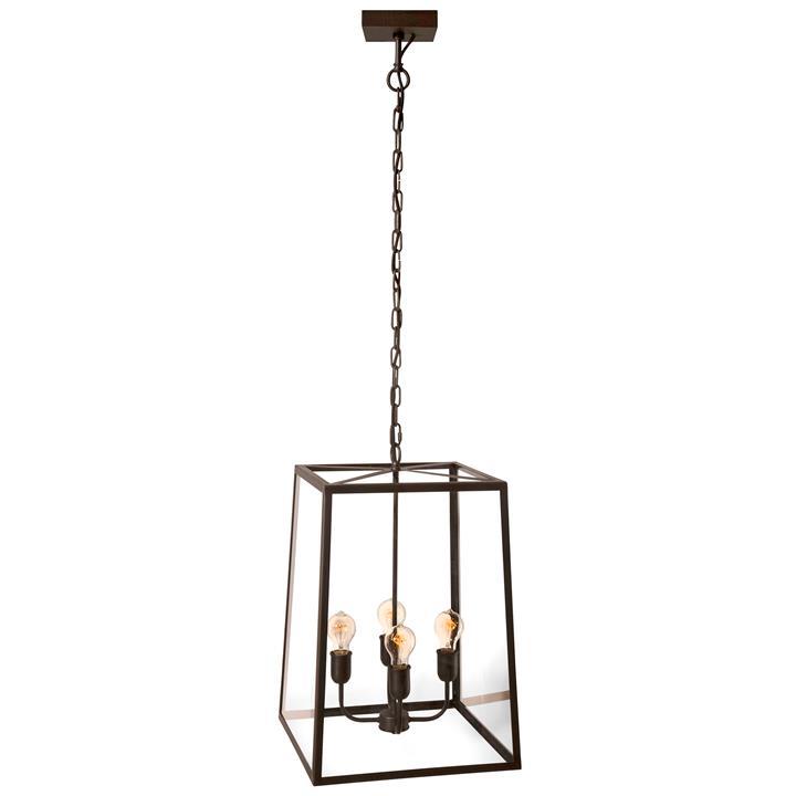Dover Brass  Glass Pendant Light, 4 Light
