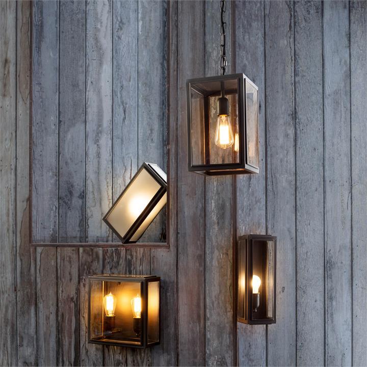 Lille IP44 Brass  Glass Indoor / Outdoor Wall Lantern, Medium, Antique Bronze / Frosted