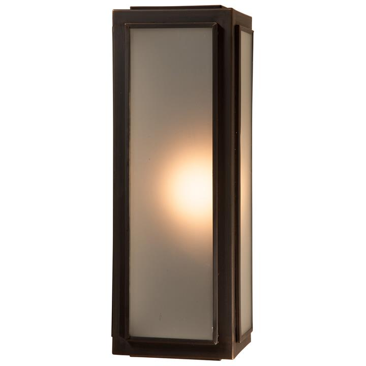 Lille IP44 Brass  Glass Indoor / Outdoor Wall Lantern, Small, Antique Bronze / Frosted