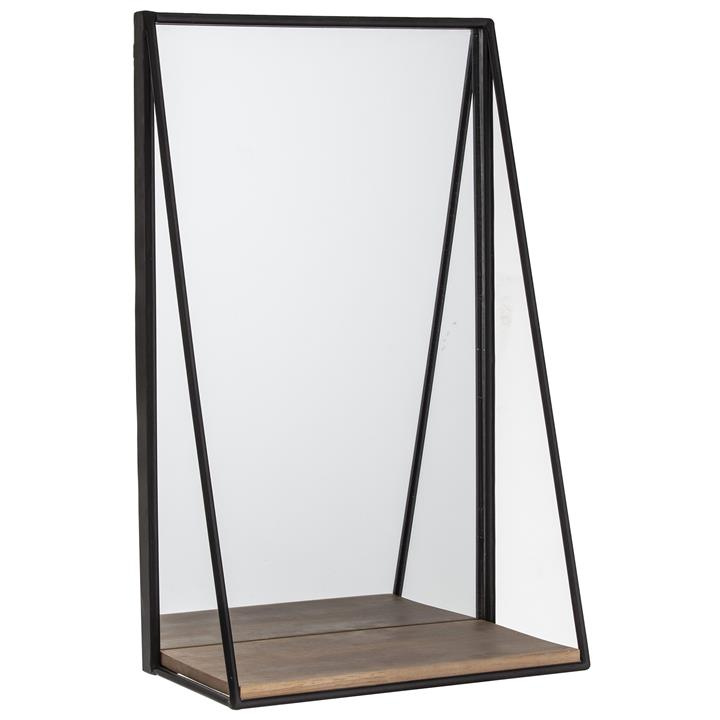 Image of Academy Home Goods Bowen Metal Frame Wall Mirror with Timber Shelf, 50cm