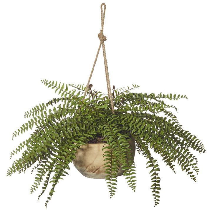 Artificial Boston Fern in Dansk Hanging Bowl Planter