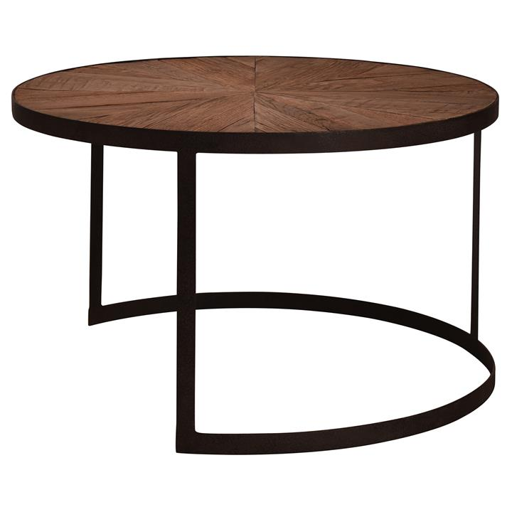 Allerton Reclaimed Oak Timber  Iron Round Coffee Table, 80cm