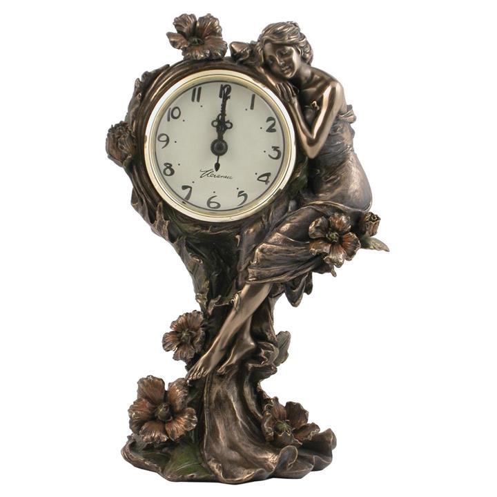 Cast Bronze Lady sitting on Poppy Flower Table Clock