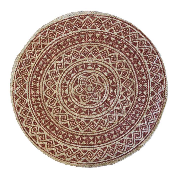 Kendra Printed Round Jute Rug, 120cm, Rust / Natural