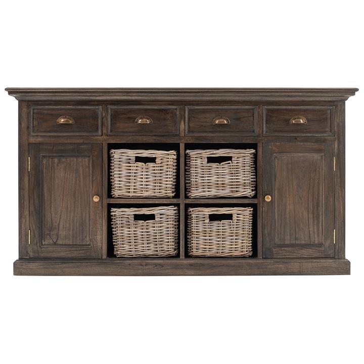Halifax Mindi Wood 2 Door 4 Drawer Buffet Table with 4 Rattan Baskets, 160cm