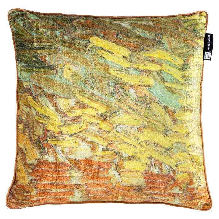 Beddinghouse Van Gogh Paint Ochre Velvet Scatter Cushion