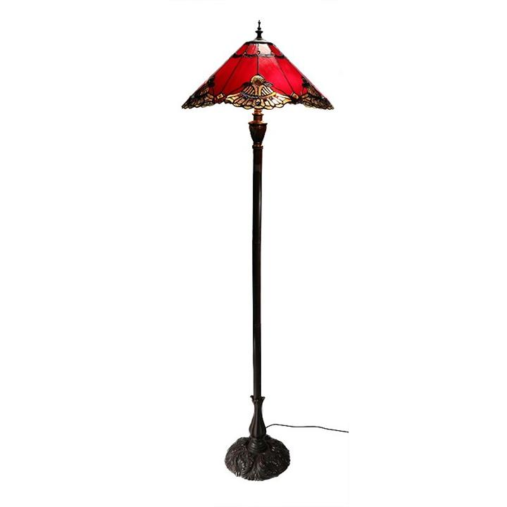Benita Tiffany Style Stained Glass Floor Lamp, Red