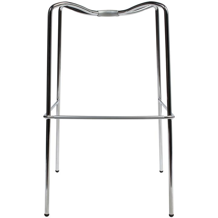 Zebra Bicolore Italian Made Commercial Grade Bar Stool, Metal Leg, Blue / Chrome