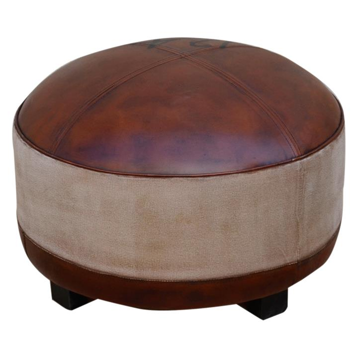 Vintage Hand Crafted Leather and Canvas Round Ottoman with Timber Legs