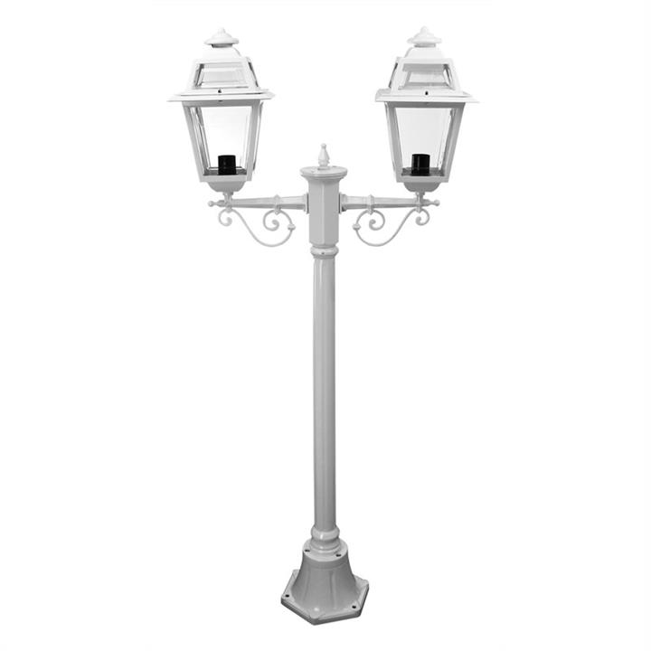 Italian Made Avignon 140cm Aluminium IP43 Exterior Tw- Head Fancy Post Light - White