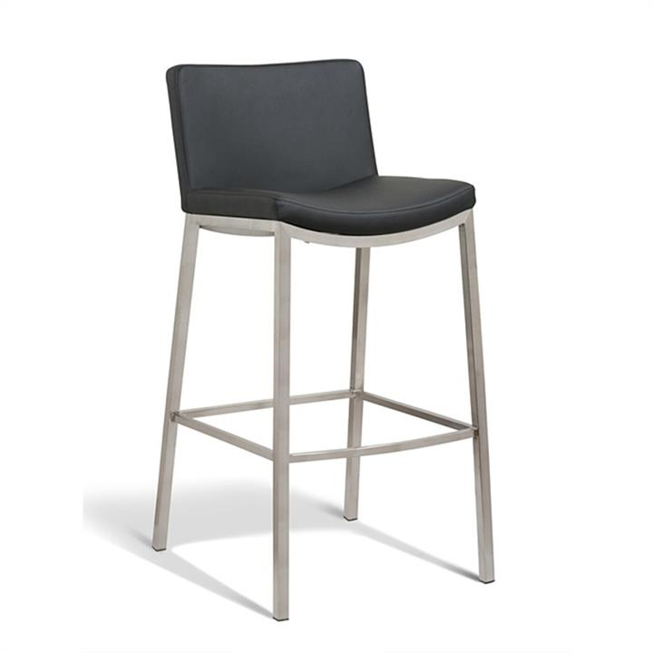 Amos Commercial Grade Stainless Steel Bar Stool with PU Seat, Black