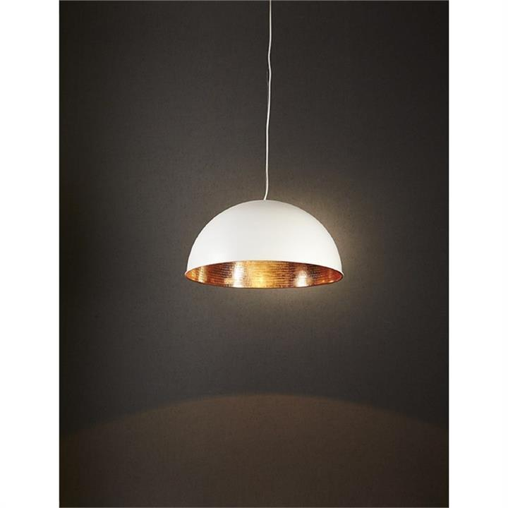 Alfresco Metal Dome Pendant Light - White/Copper
