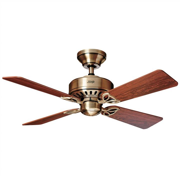 Hunter Bayport Antique Brass Ceiling Fan with Rosewood / Medium Oak Switch Blades