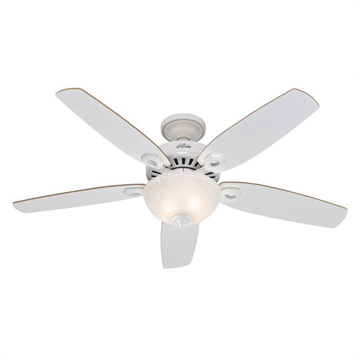Hunter Builder Deluxe Commercial Grade White Ceiling Fan with Light