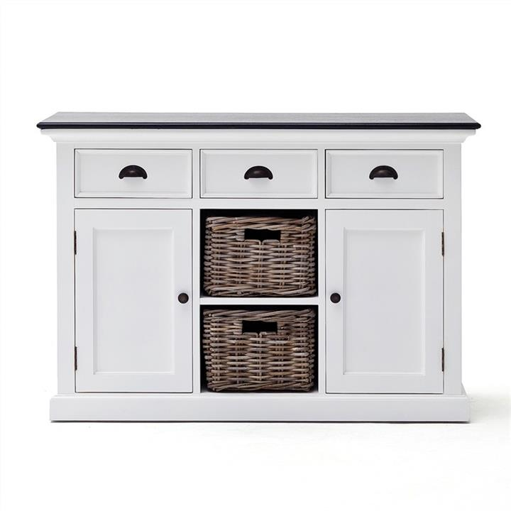 Halifax Contrast Mahogany Timber 2 Door 3 Drawer Buffet Table with 2 Rattan Baskets, 125cm, Black / White