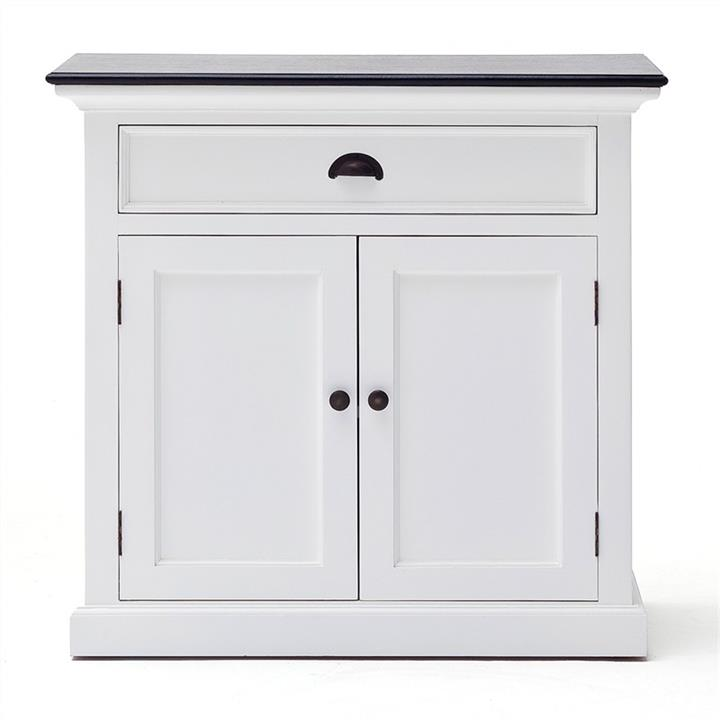 Halifax Contrast Mahogany Timber 2 Door 1 Drawer Buffet Table, 90cm, Black / White