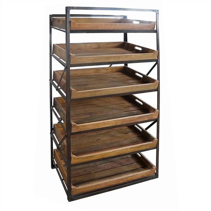 Arpino Metal Frame Display Rack with Detachable Timber Tray Shelves