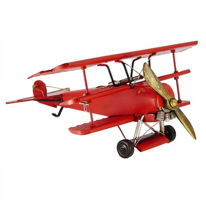 Boutica Handmade Tin Aircraft Model - Medium Red Baron Triplane