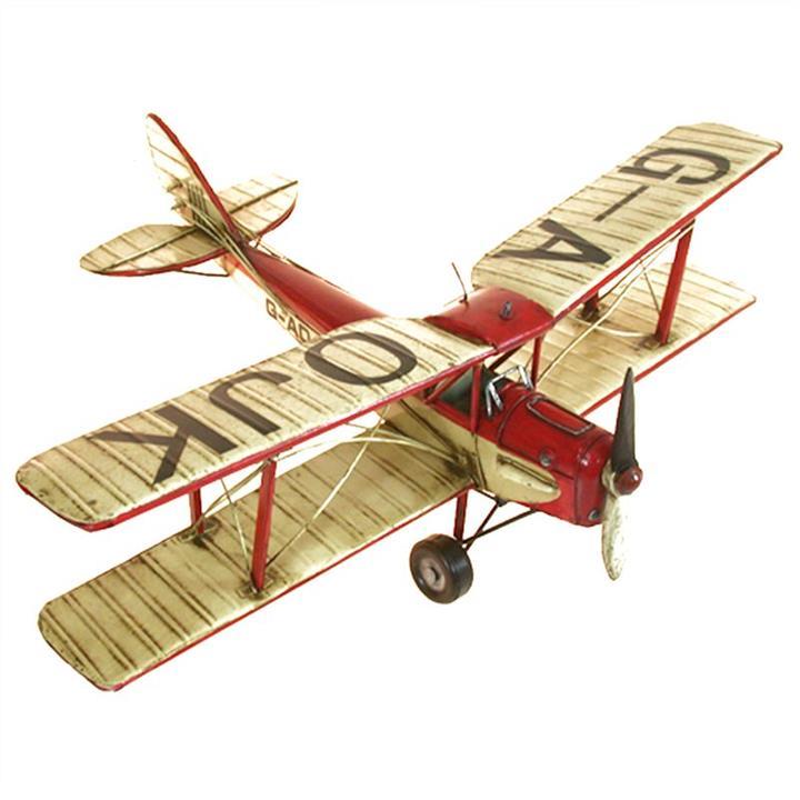 Boutica Handmade Tin Aircraft Model - Red Tigermoth Biplane