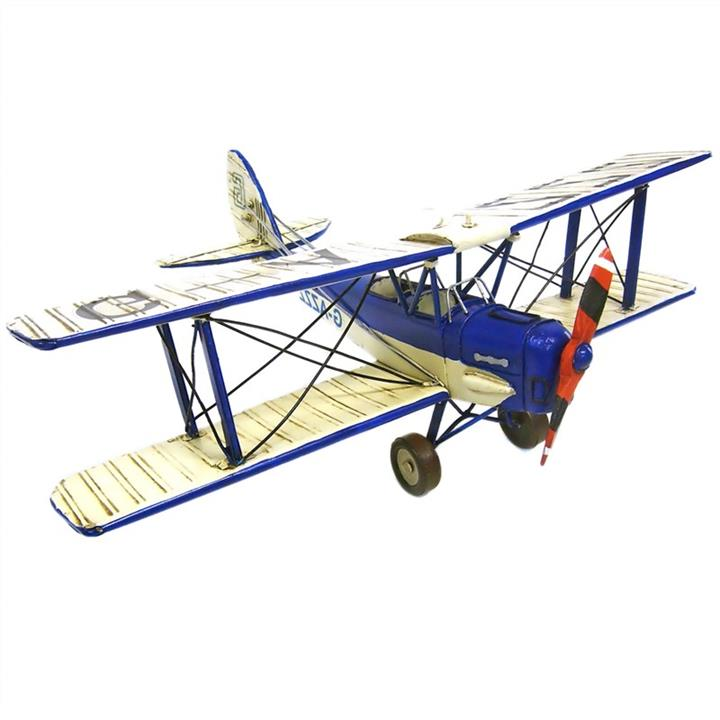 Boutica Handmade Tin Aircraft Model - Blue Tigermoth Biplane