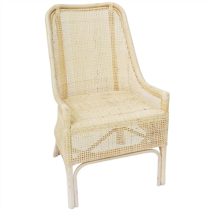Achille Rattan Side Chair, White Wash