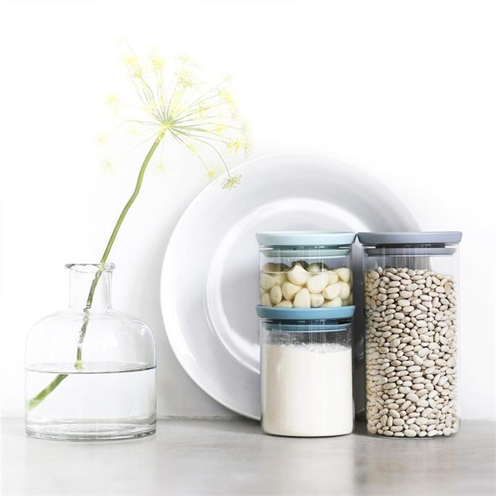 Brabantia 3 Piece Soft Tone Lid Stackable Glass Jar Set