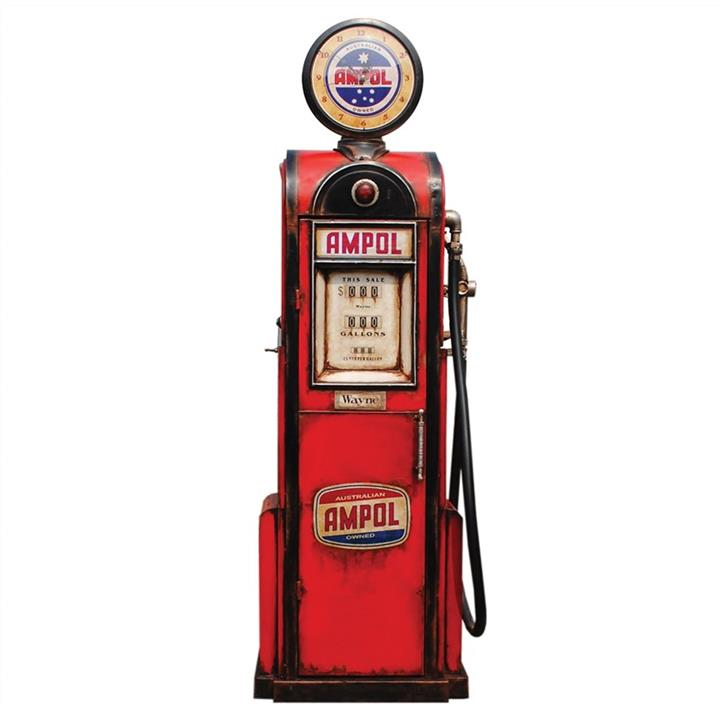 Ampol Petrol Pump Metal Storage Cabinet with Clock