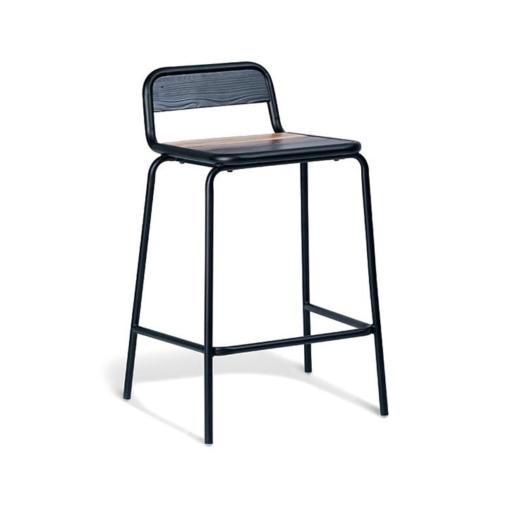 Aurora Commercial Grade Stackable Metal Counter Stool with Timber Seat, Black