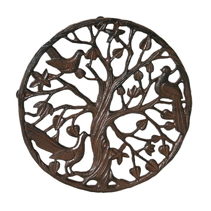 Cast Iron Nightingale Round Garden Doormat / Wall Art, Antique Rust