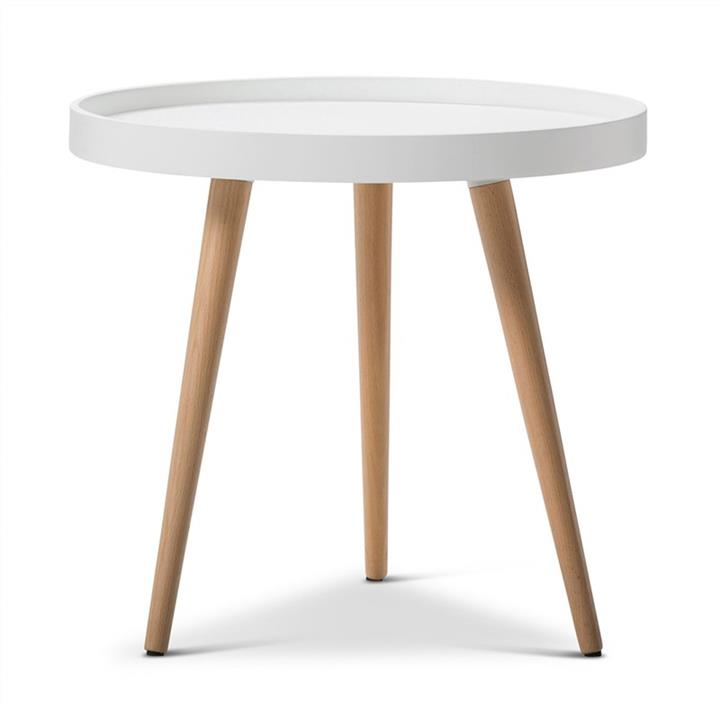 Aerin Retro Wooden 48cm Round Side Table - White