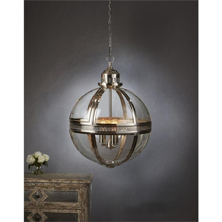 Saxon Large Metal and Glass Globe Pendant Light - Nickel