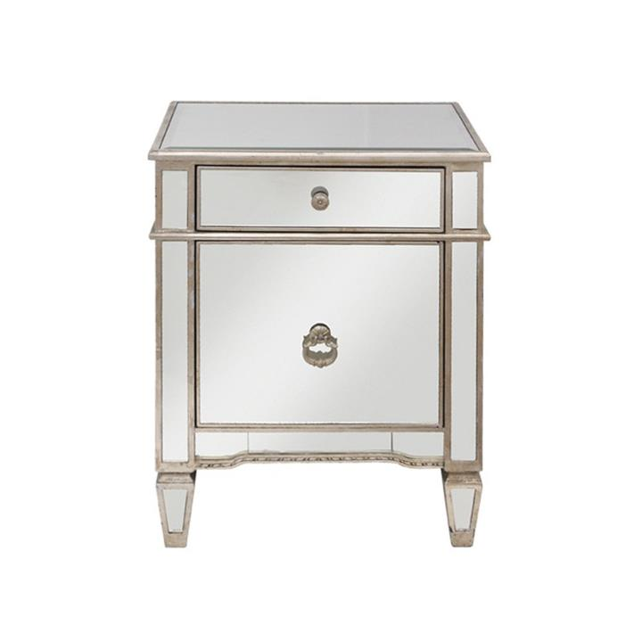 Cassidy Mirrored 1 Door 1 Drawer Bedside Table