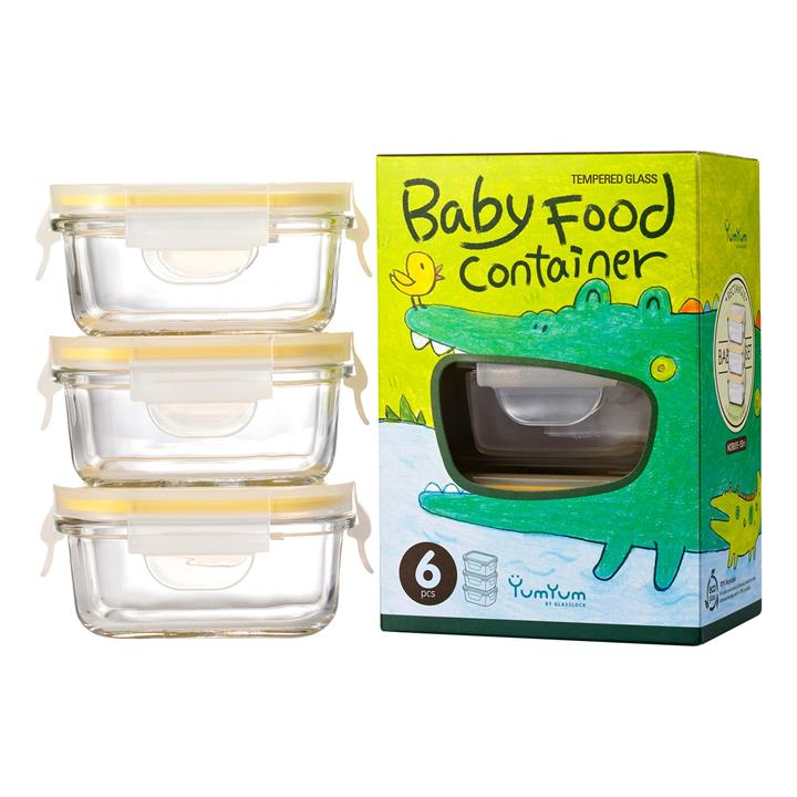 Glasslock 3 Piece Rectangular Baby Food Container Set