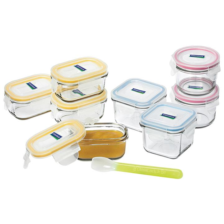 Glasslock 9 Piece Baby Food Container Set with Silicone Spoon