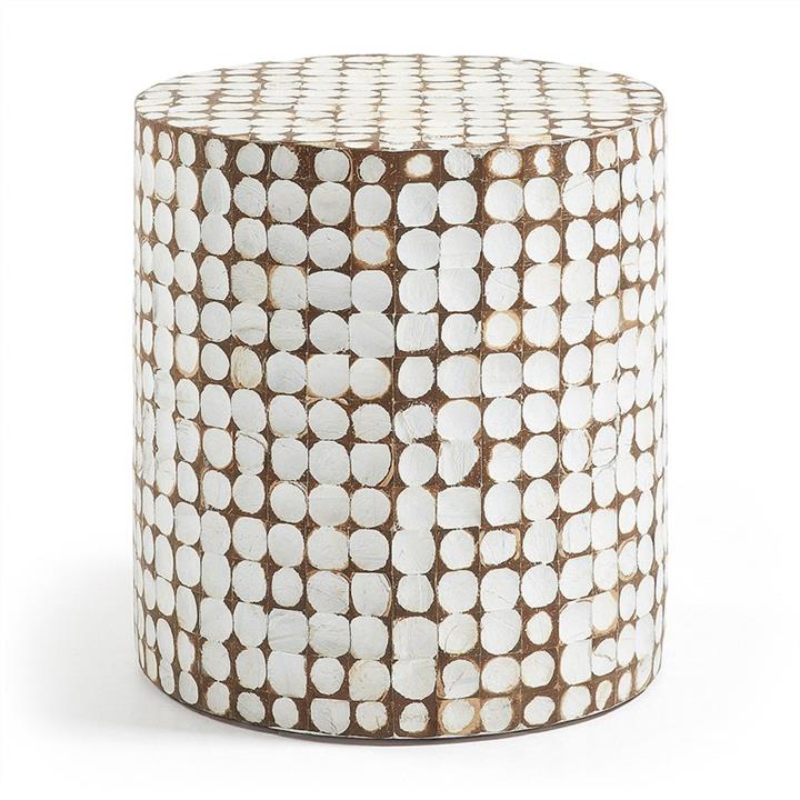 Alan Coconut Chip Round Accent Stool