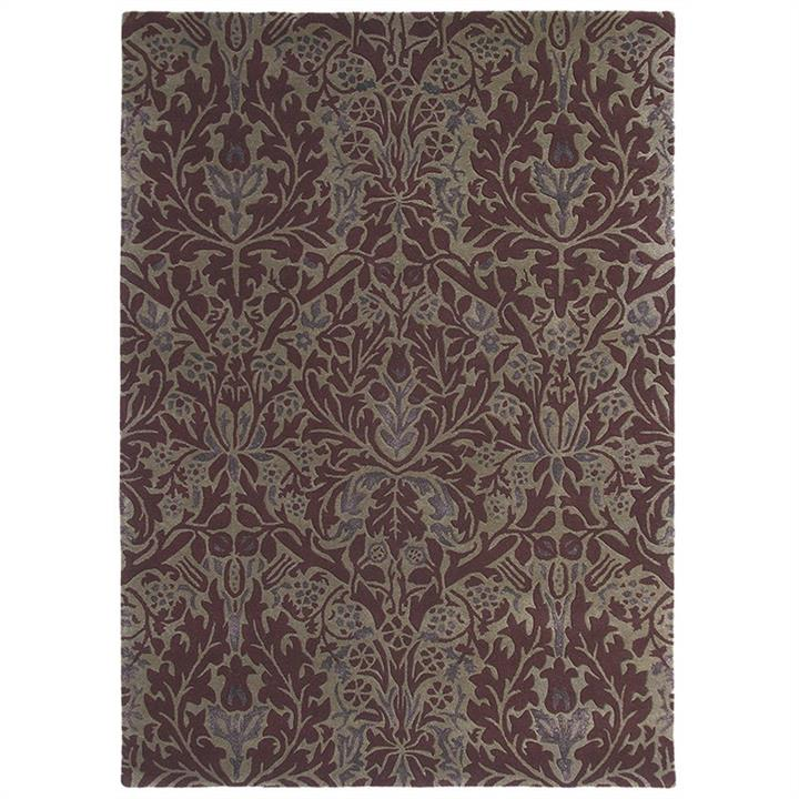 Morris  Co Autumn Flowers Hand Tufted Designer Wool Rug, 240x170cm, Plum